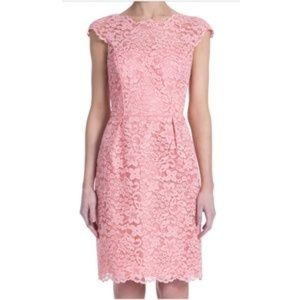 Shoshanna Cap Sleeve Pink Lace Dress